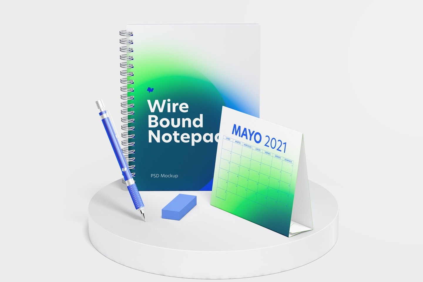 Wire Bound Notepad Scene Mockup, Front View
