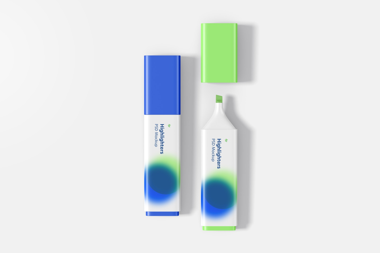 Highlighter Pens Mockup, Opened and Closed
