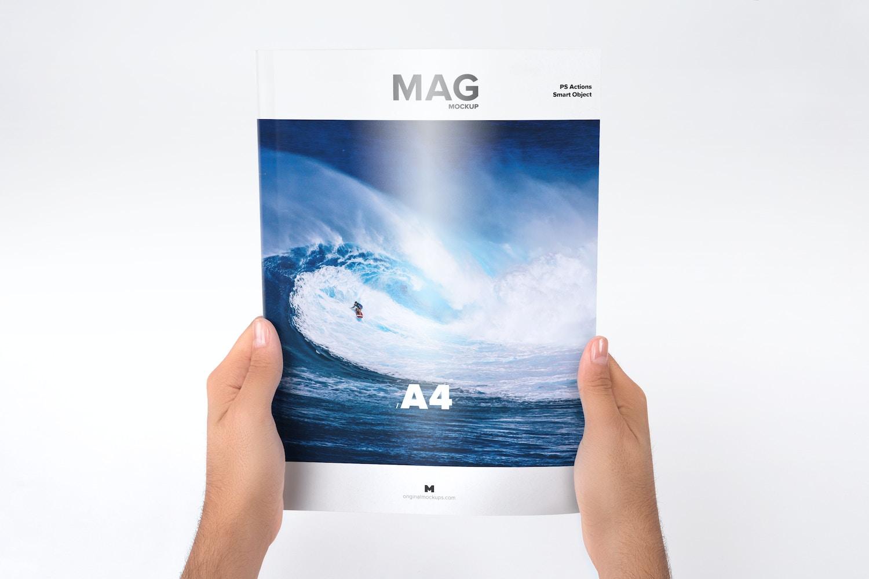 Holding Closed A4 Magazine Mockup