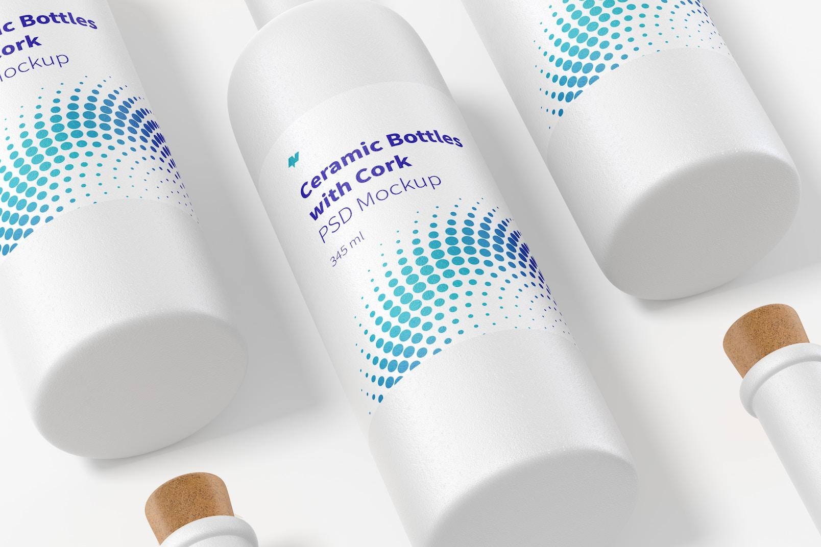 Long Neck Ceramic Bottles with Cork Set Mockup