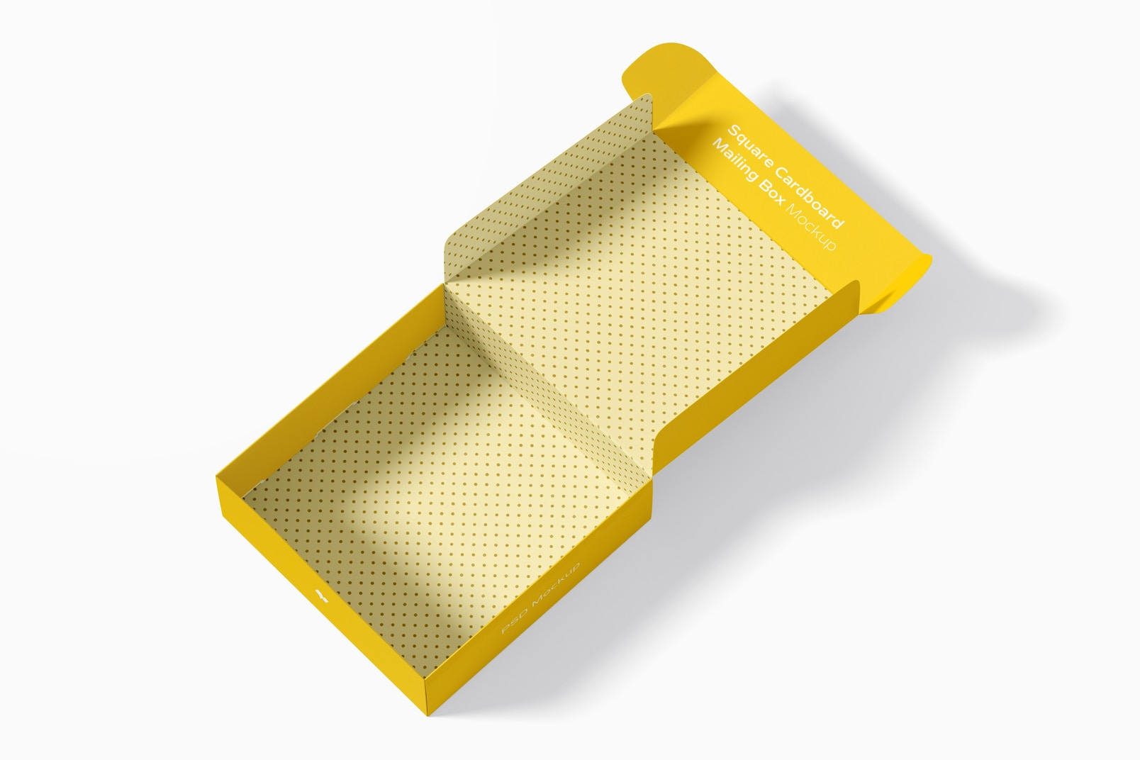 Square Cardboard Mailing Box Mockup, Opened