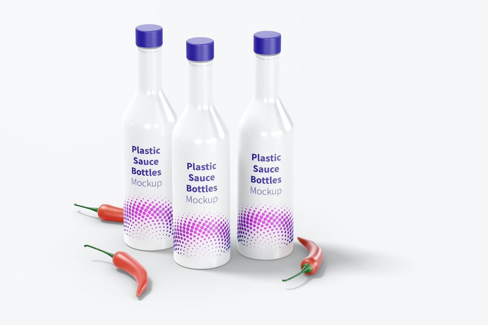 Plastic Sauce Bottles Set Mockup