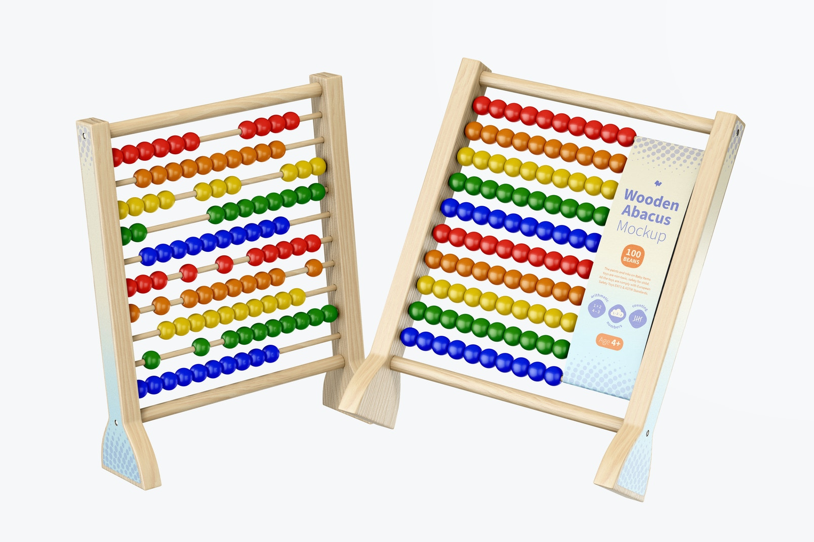 Wooden Abacus Mockup, Floating