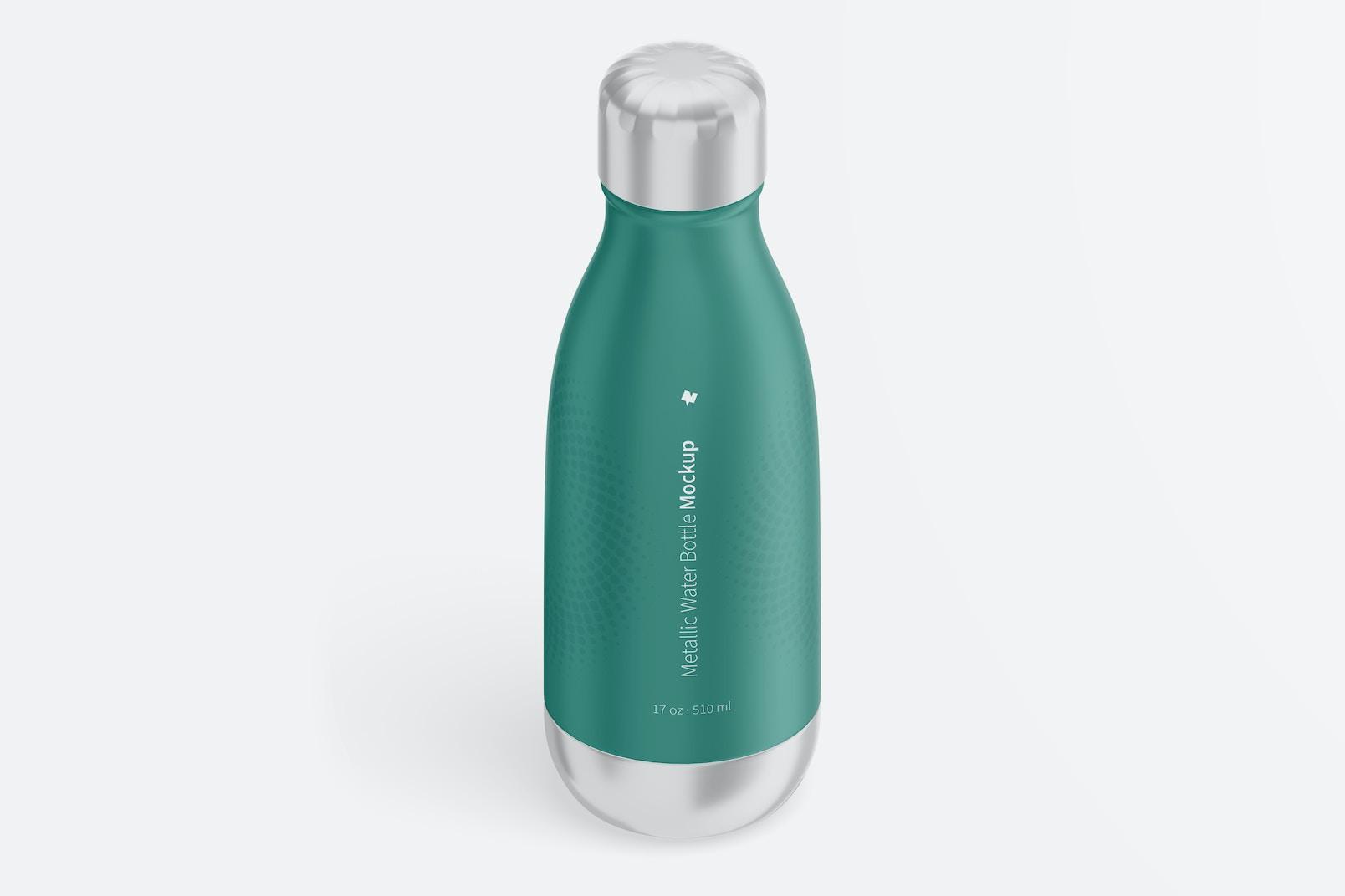 17 oz Metallic Water Bottles Mockup, Isometric View