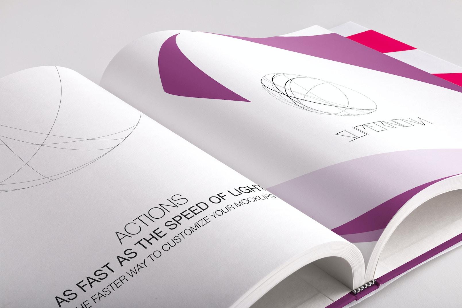 Hardcover Large Square Book PSD Mockup 02
