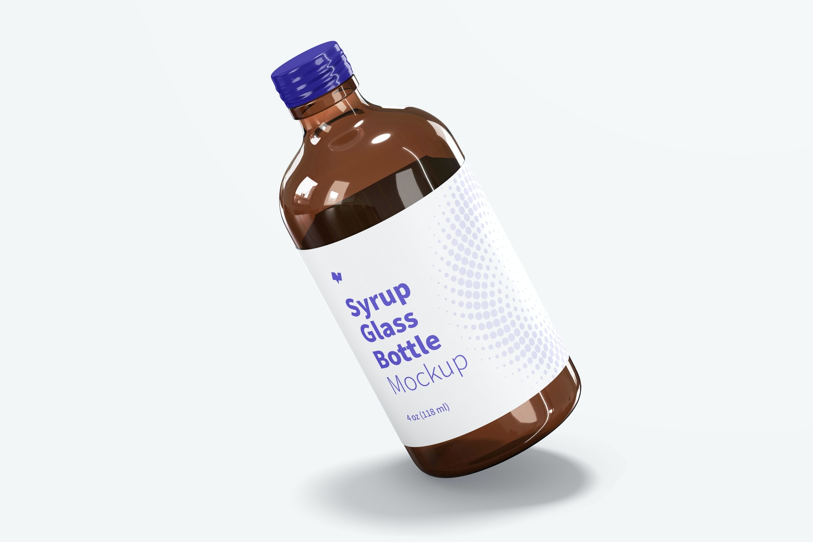 4 oz Syrup Glass Bottle Mockup, Leaned