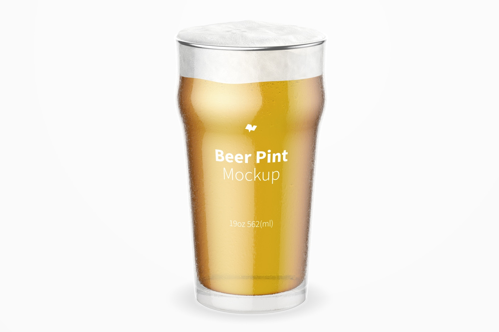 19 oz Beer Nonic Pint Glass Mockup, Front View