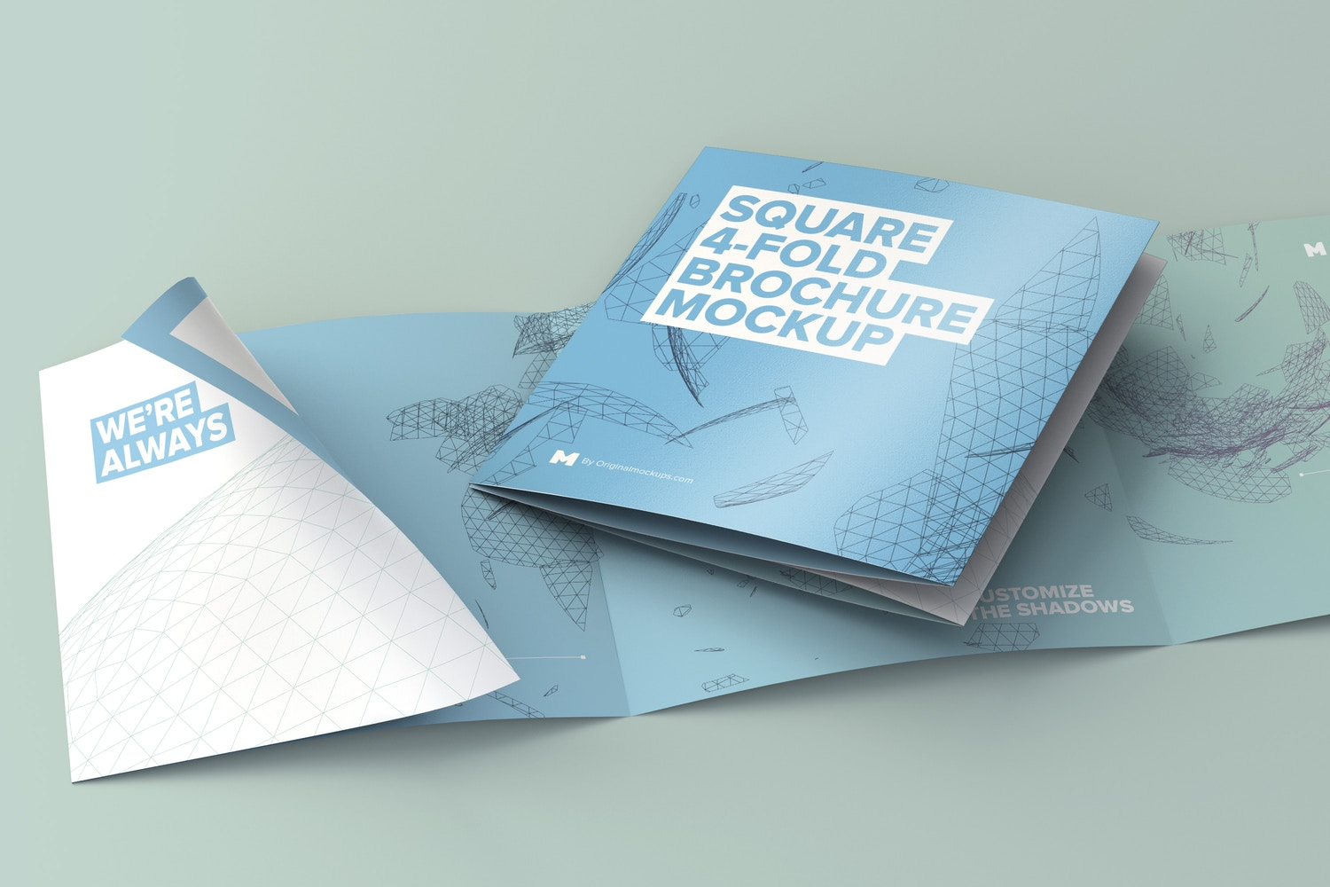 Folded and Unfolded Square 4-Fold-Brochure Mockup - Custom Background