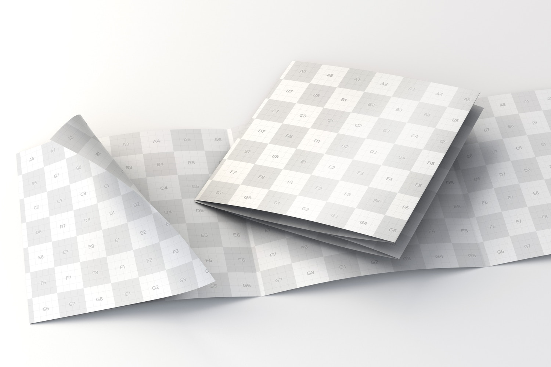 Folded And Unfolded Square 4 Fold Brochure Mockup Original Mockups