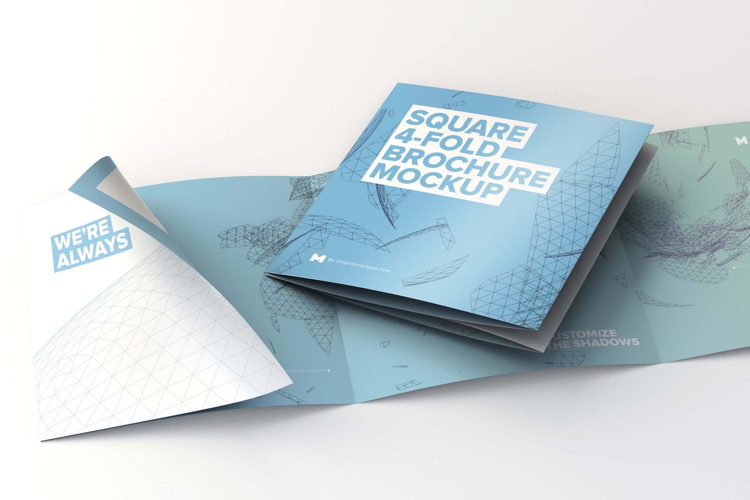 Folded and Unfolded Square 4-Fold-Brochure Mockup