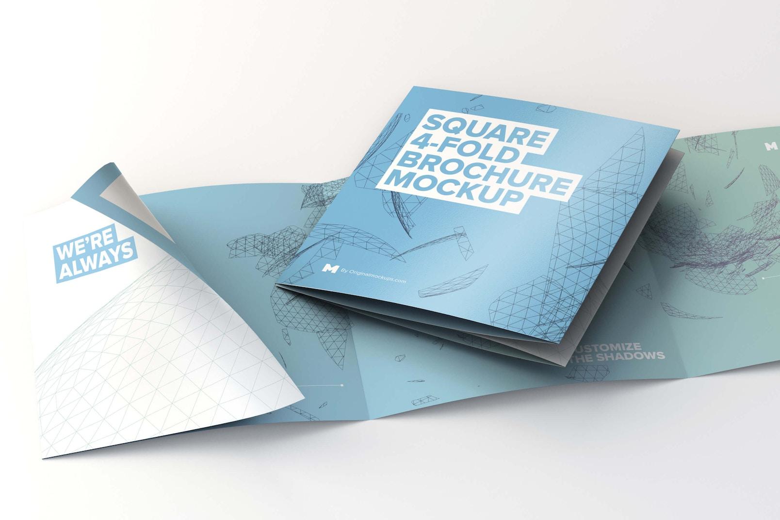 Folded and Unfolded Square 4-Fold-Brochure Mockup