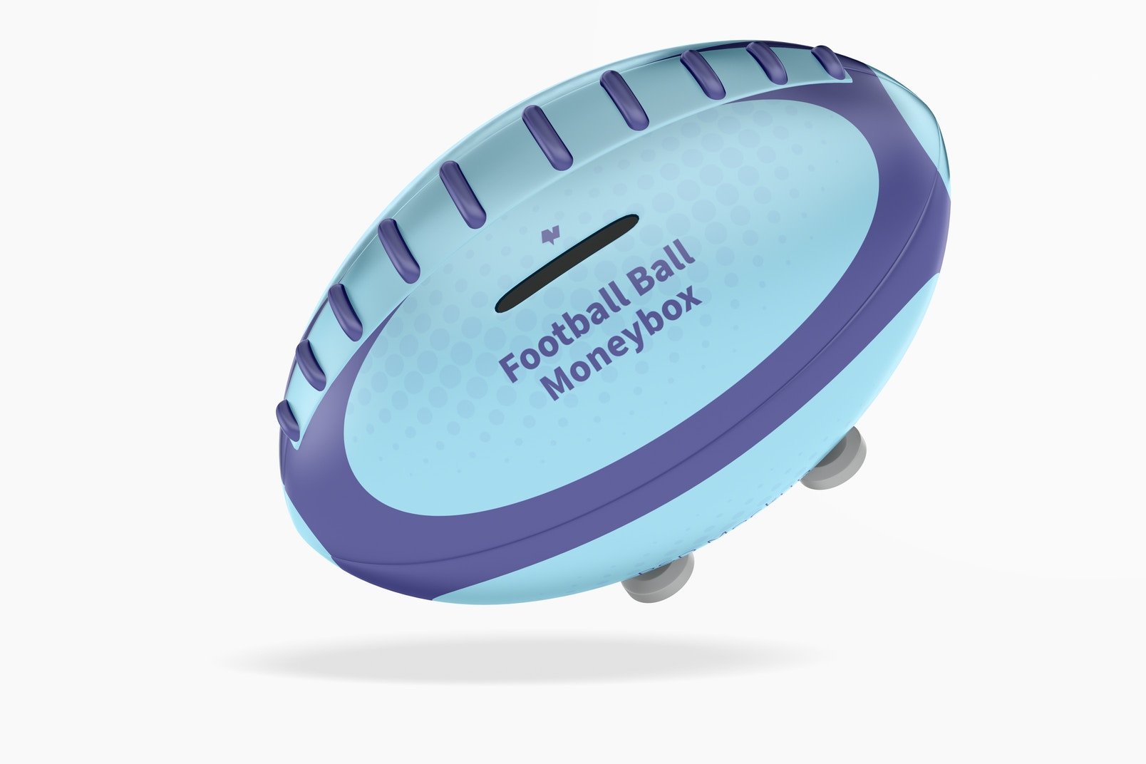 Metal Football Ball Moneybox Mockup, Floating