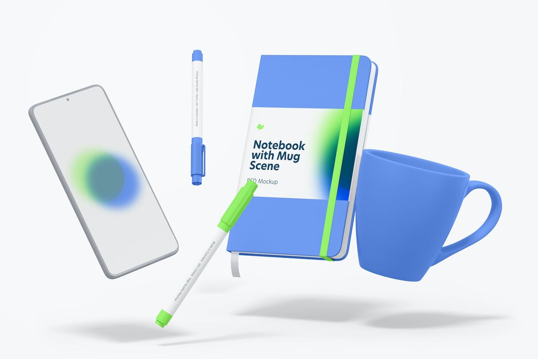 Notebook with Mug Scene Mockup, Floating