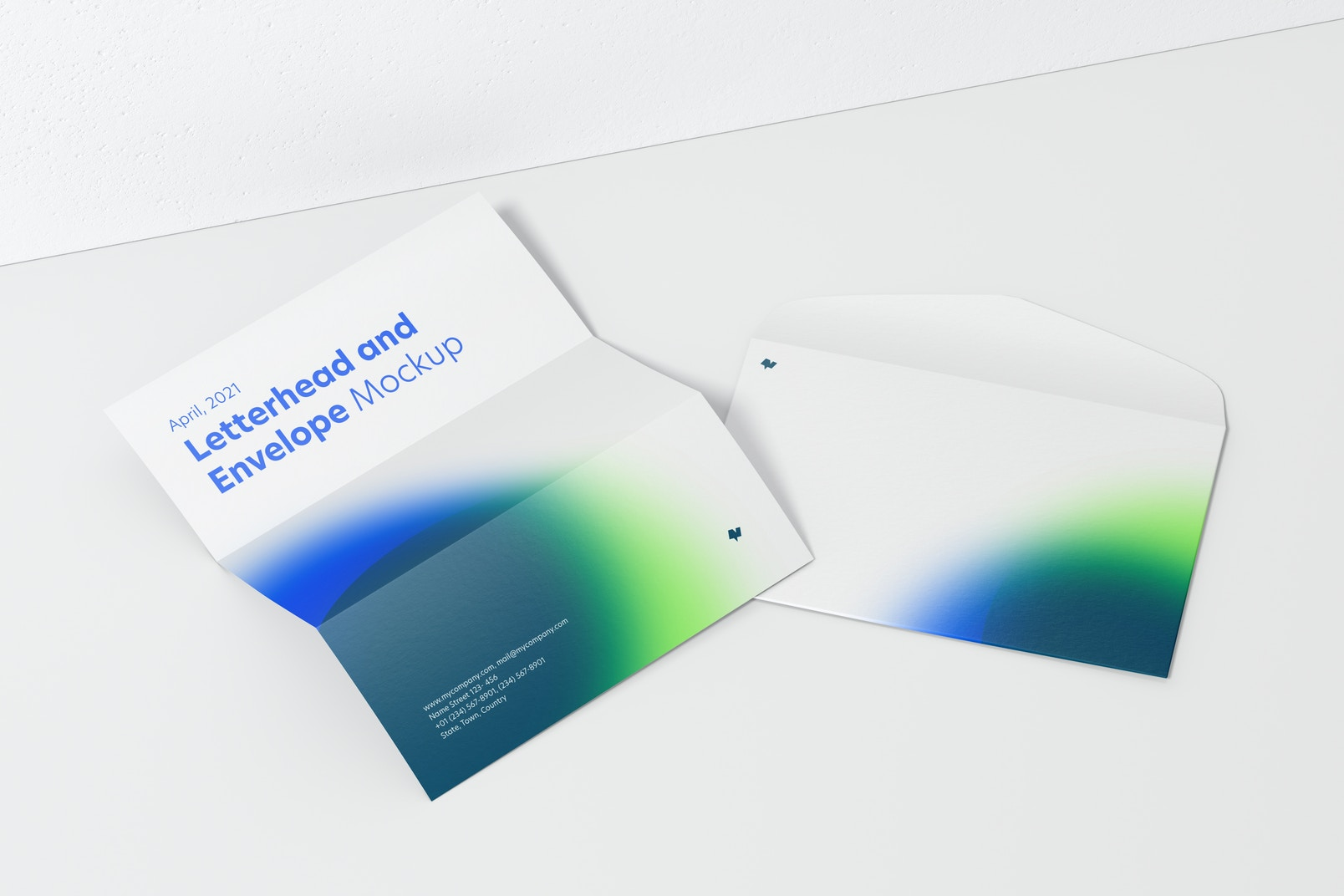 Letterhead and Envelope Mockup, Perspective View