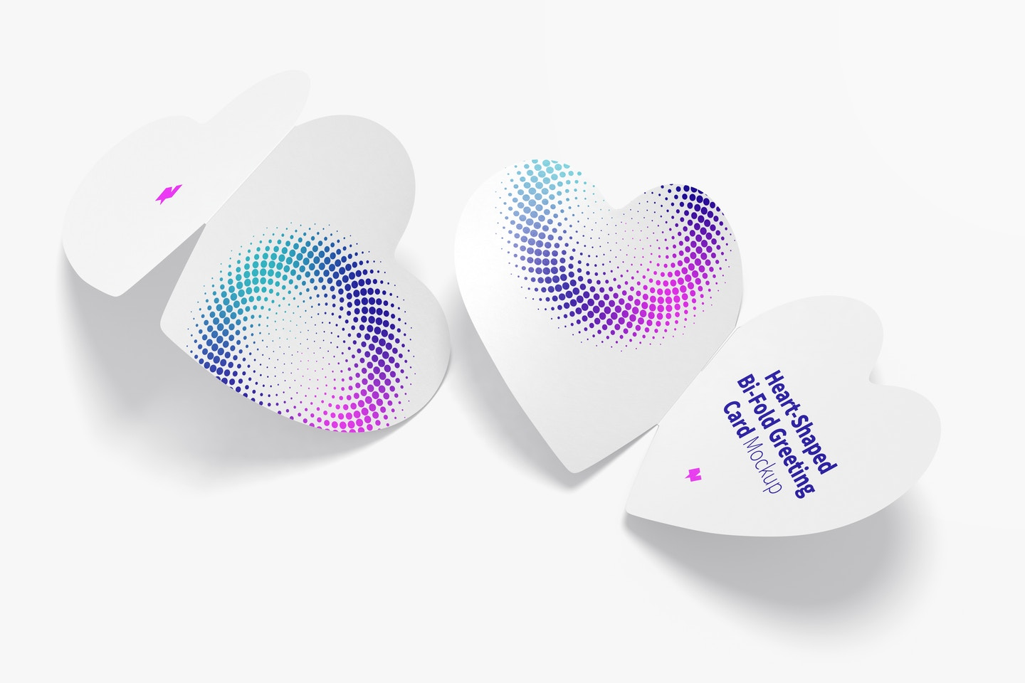 Heart-Shaped Bi-Fold Greeting Cards Mockup, Back and Front View