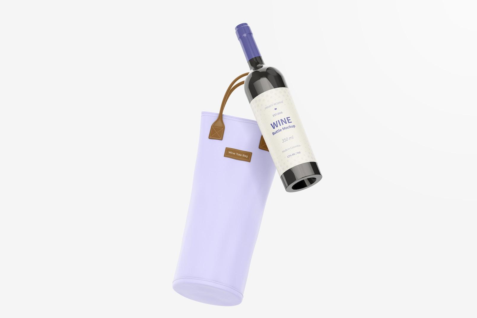 Wine Tote Bag Mockup, Floating
