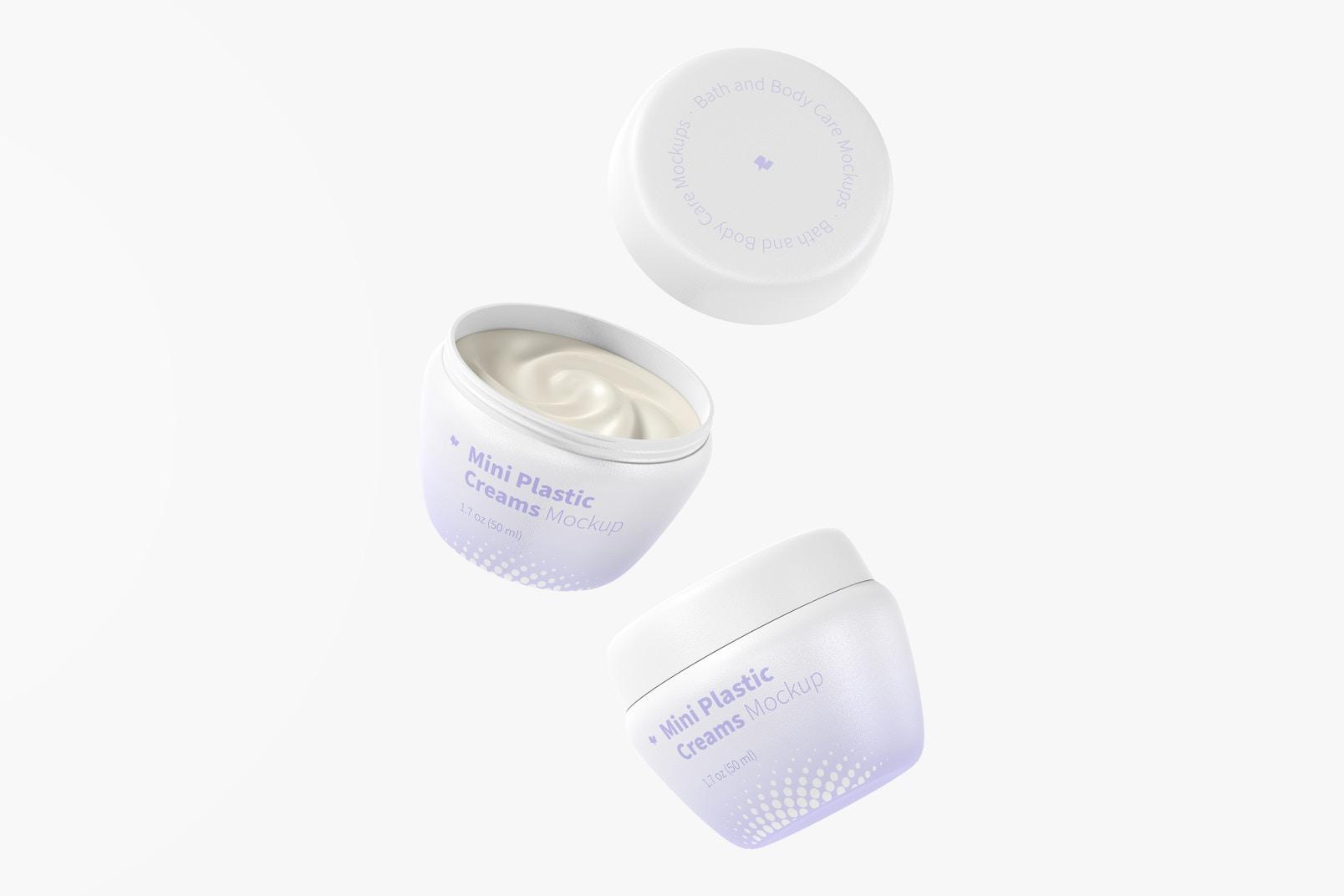Mini Plastic Cream Jars with Lid Mockup, Floating