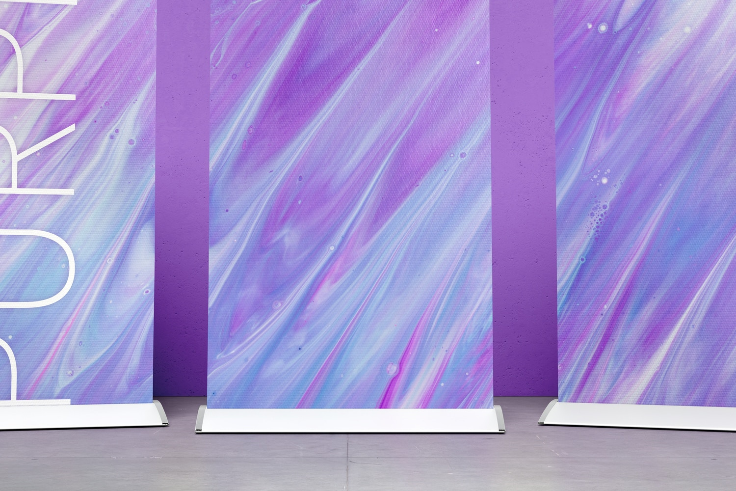Standing Roll-Up Banners Mockup with a Background Wall 02