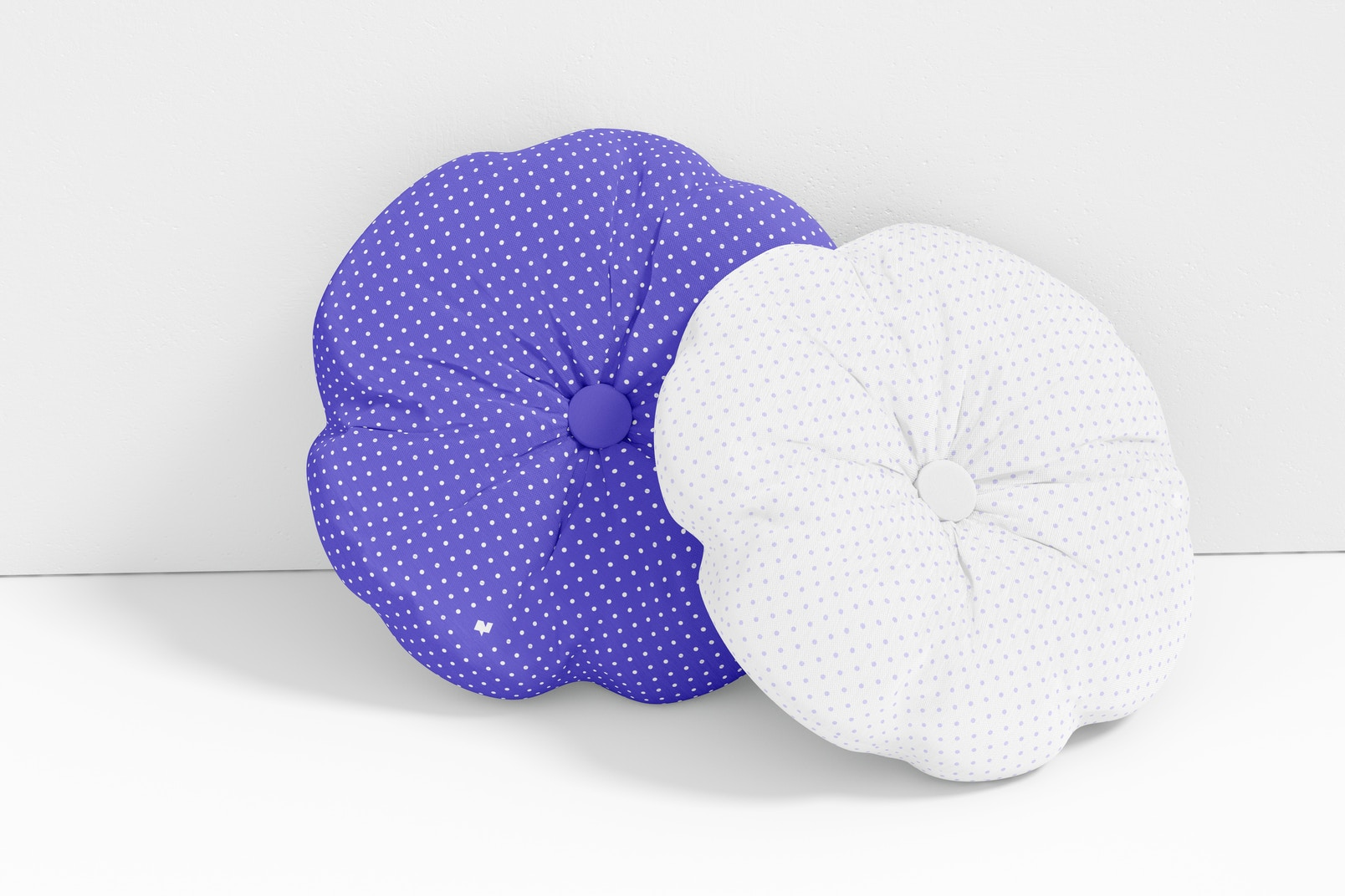 Round Pillow with Button Mockup, Leaned