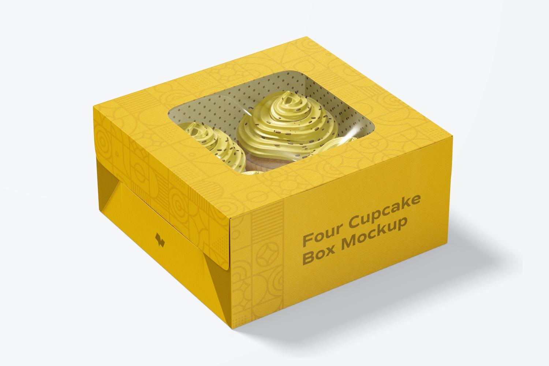 Four Cupcake Box Mockup, Closed