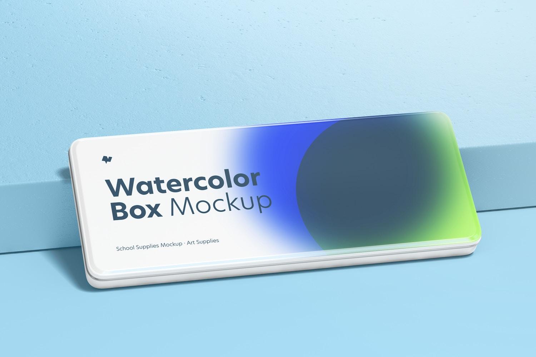 Watercolor Box Mockup, Leaned