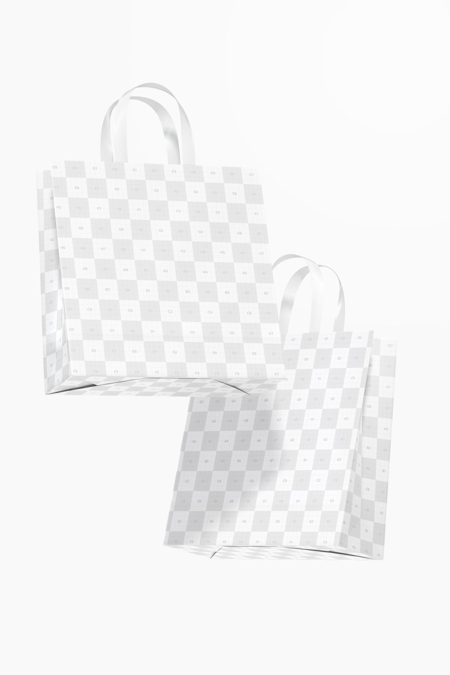 Medium Gift Bags with Ribbon Handle Mockup, Floating