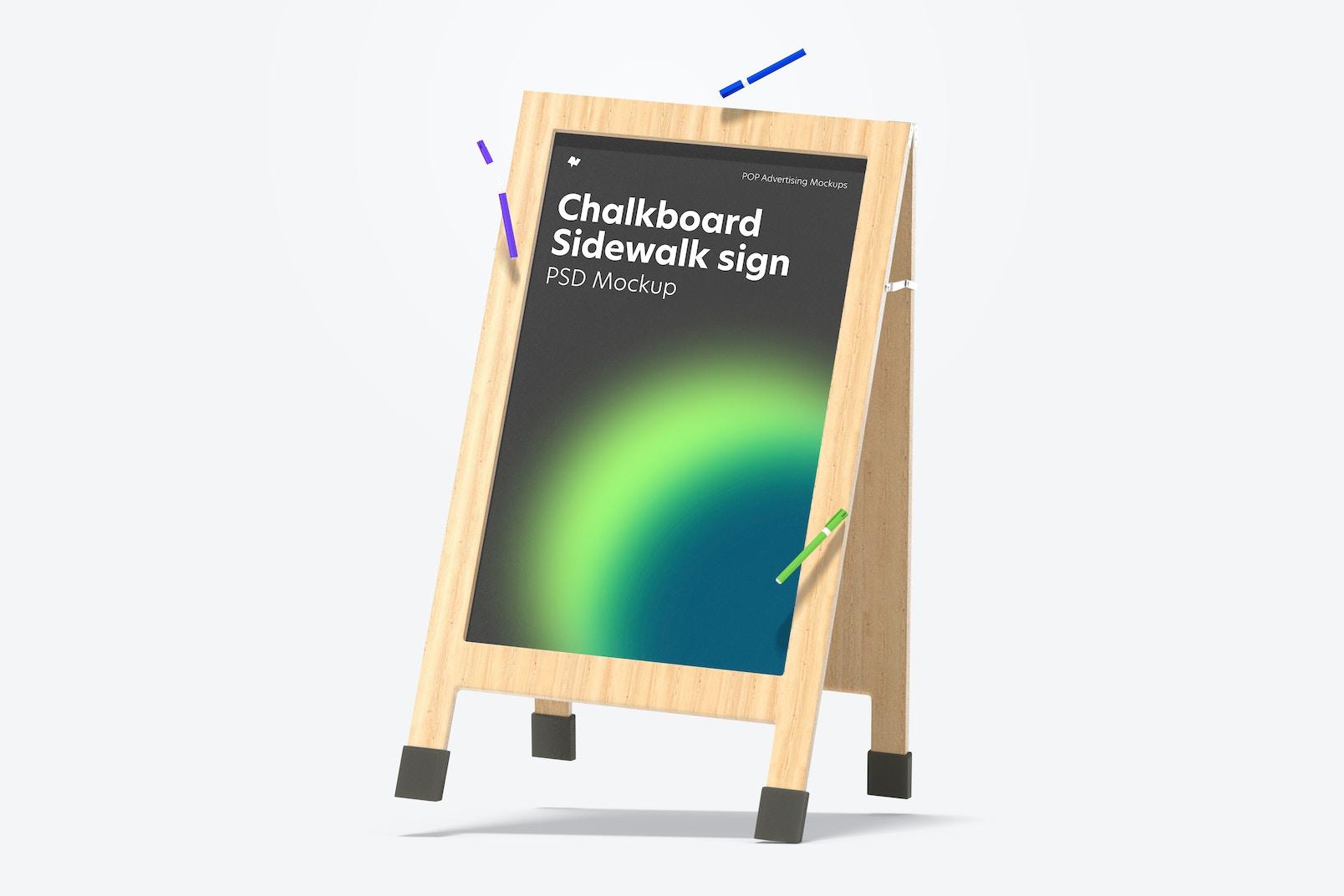 Chalkboard Sidewalk Sign Mockup, Leaned