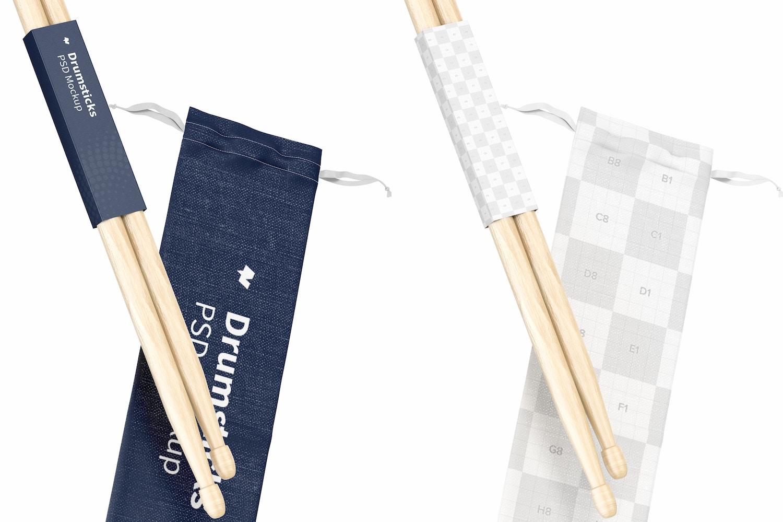 Drumsticks Mockup, Close-up