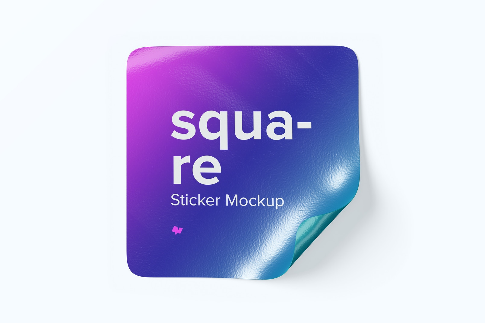 Square Sticker Mockup, Front View