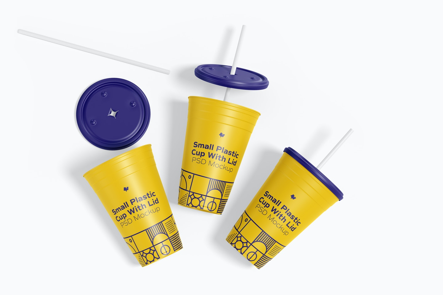 Small Plastic Cup with Lid Mockup, Top View