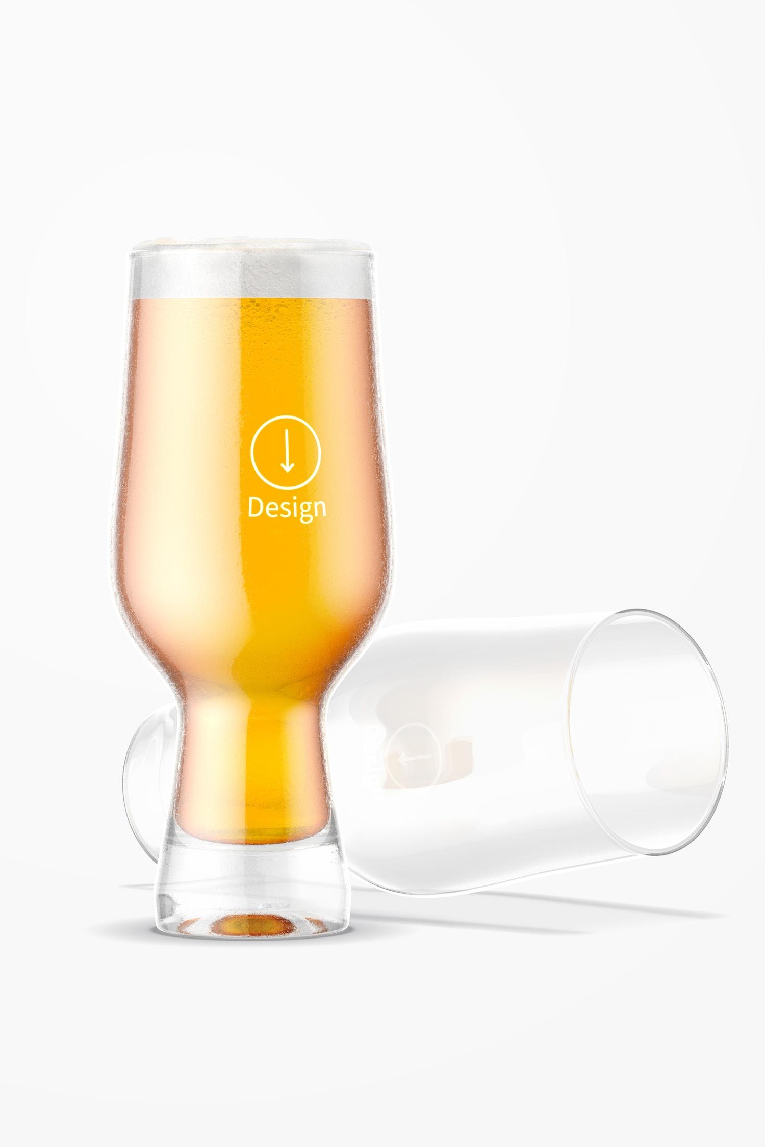 18 oz Glass Beer Cups Mockup