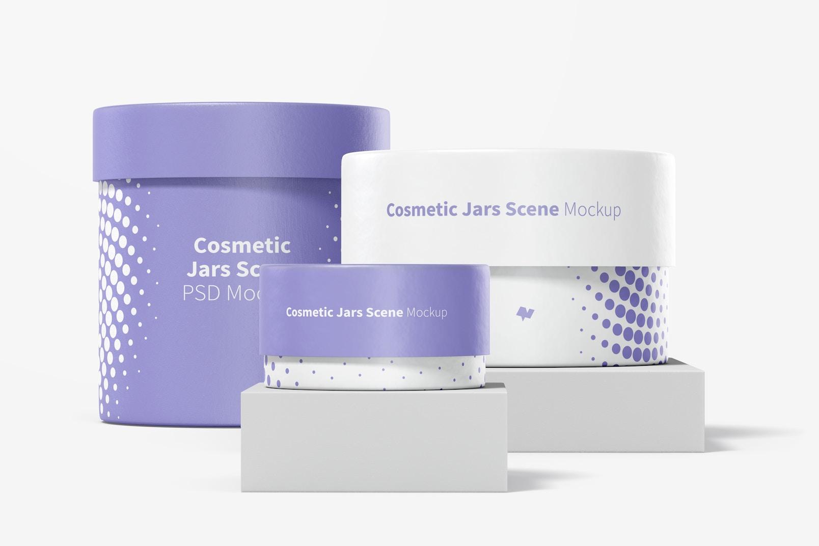 Cosmetic Jars Scene Mockup 03