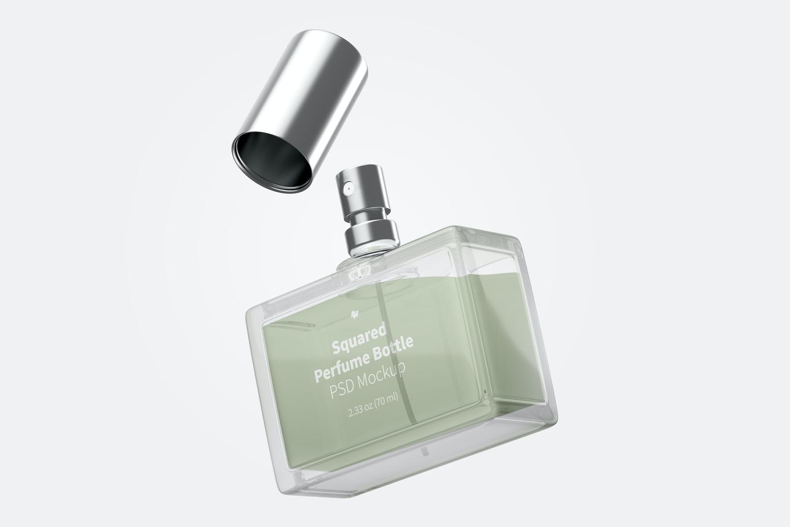 Squared Perfume Bottle Mockup, Floating