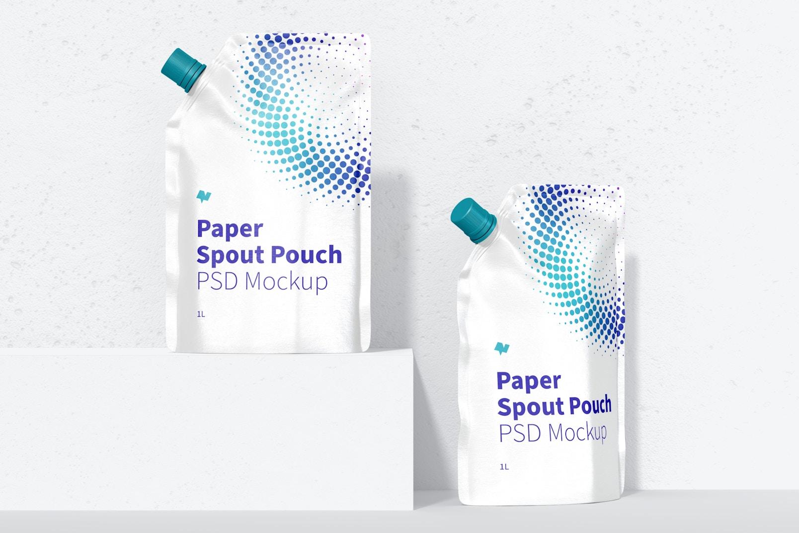1 Liter Paper Spout Pouch Mockup, Front View