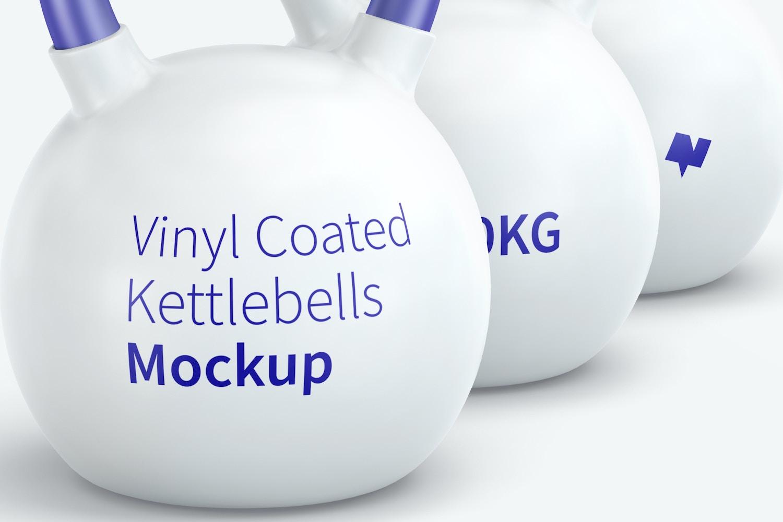 Vinyl Coated Kettlebells Mockup, Front View