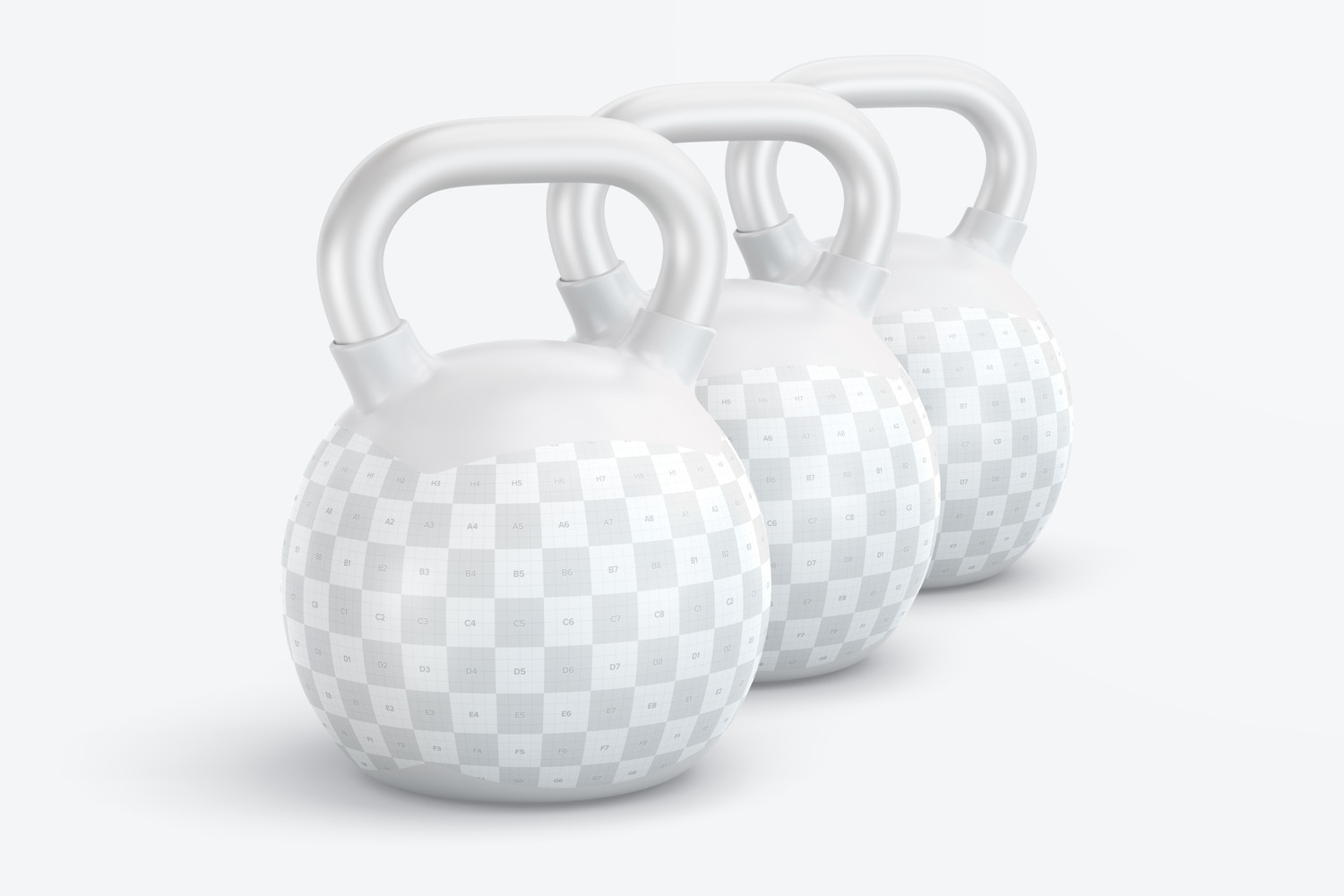 Customize your design in this mockup with three kettlebells.