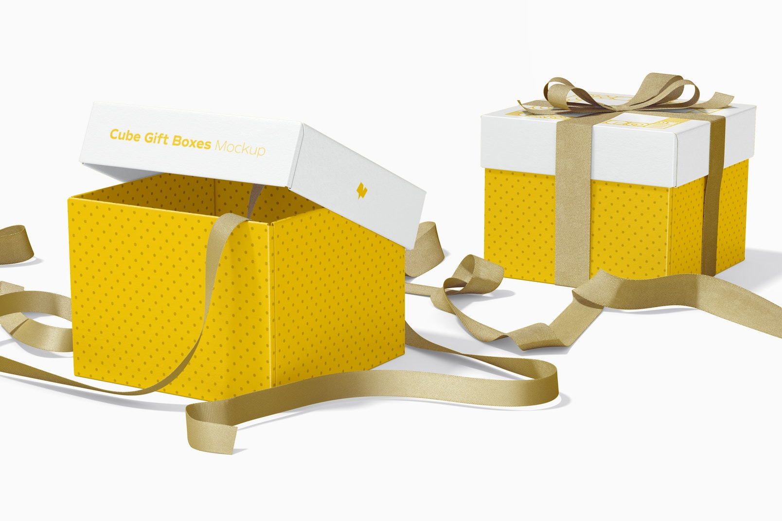 Cube Gift Boxes With Ribbon Mockup