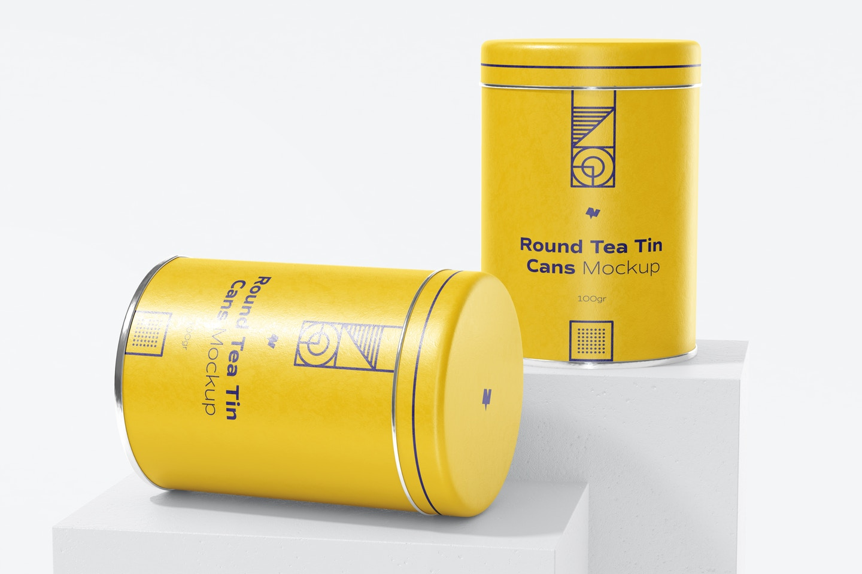 Round Tea Tin Cans Set Mockup