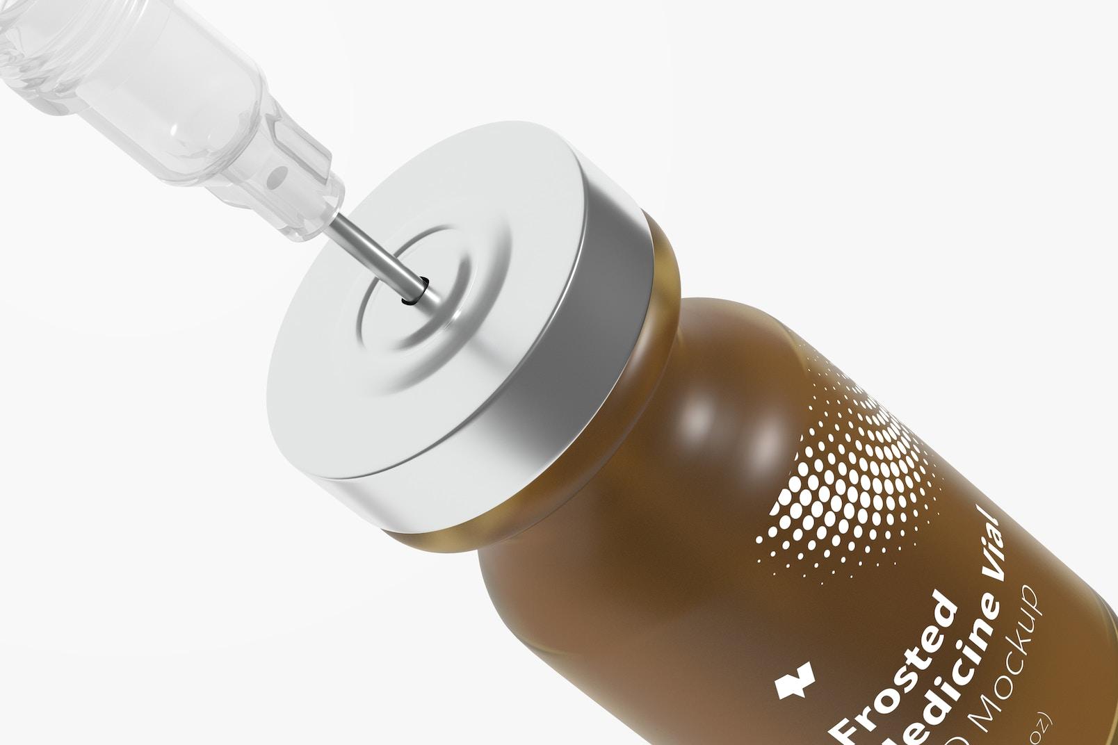 2 ml Frosted Glass Medicine Vial Bottle Mockup, Close Up