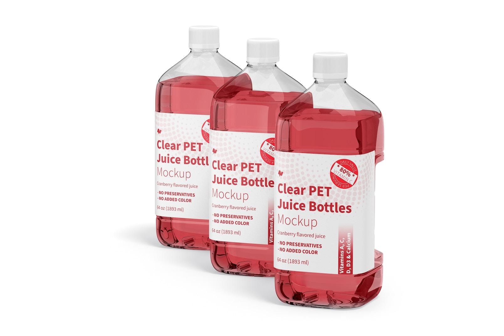 64 oz Clear PET Juice Bottles Mockup