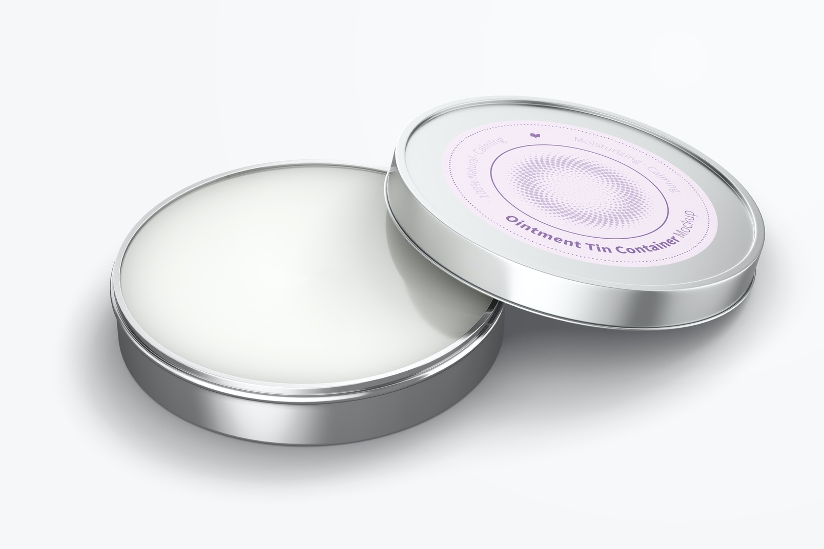 Ointment Tin Container Mockup, Opened