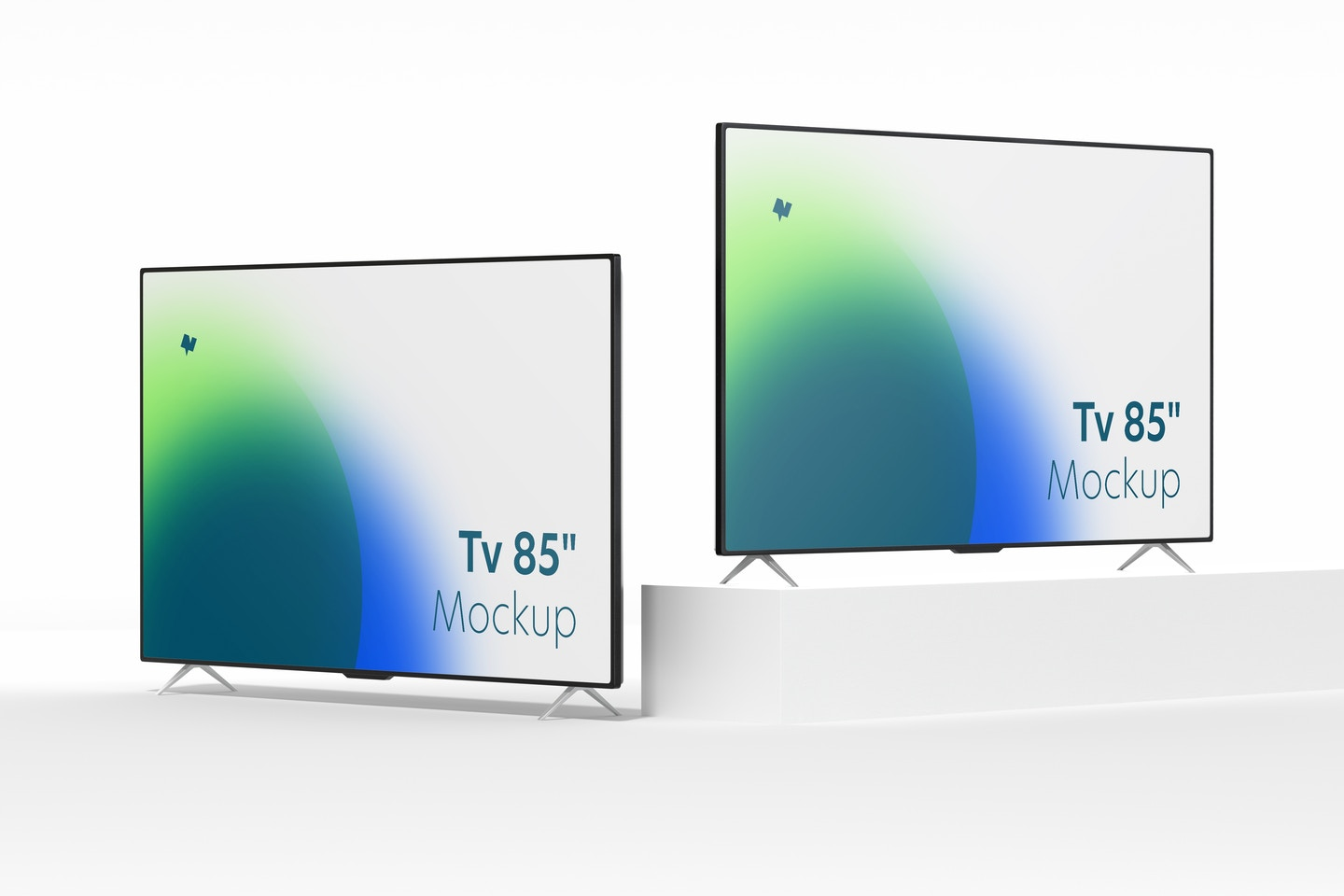"""TVs 85"""" Mockup, Left and Right View"""