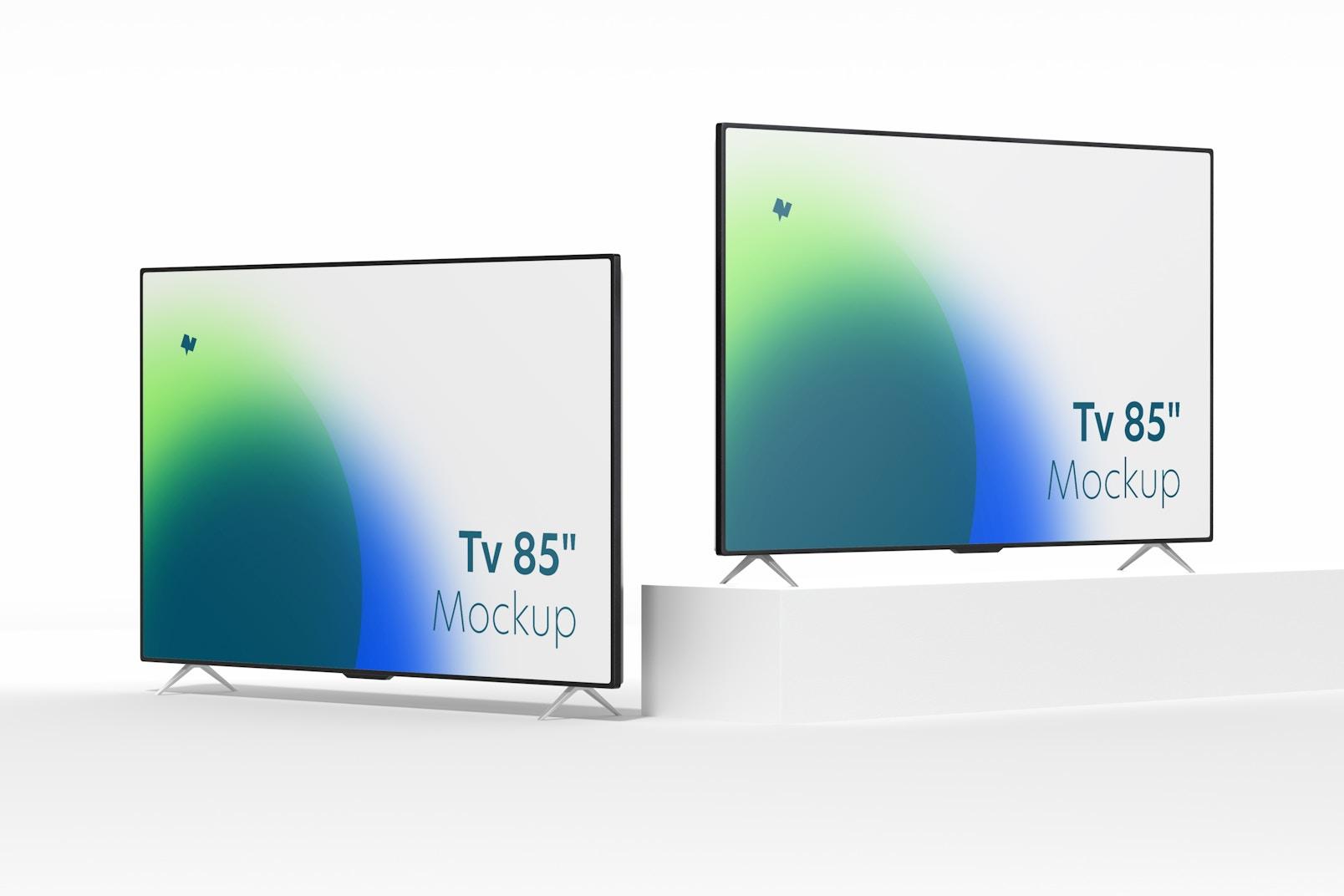 """Maqueta de TV de 85"""", Vista Izquierda y Derecha"""