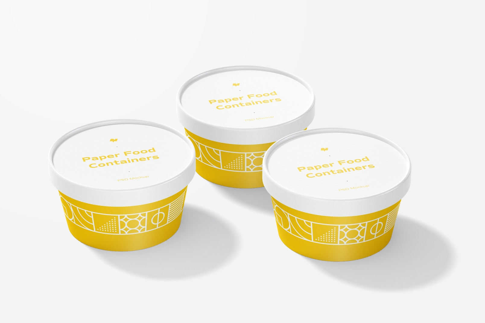 Round Paper Food Containers Mockup, Closed