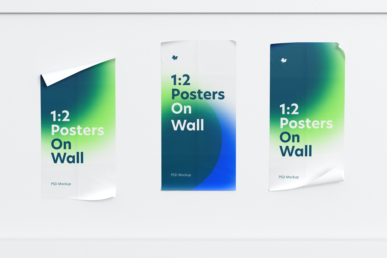 1:2 Posters on Wall Mockup, Front View