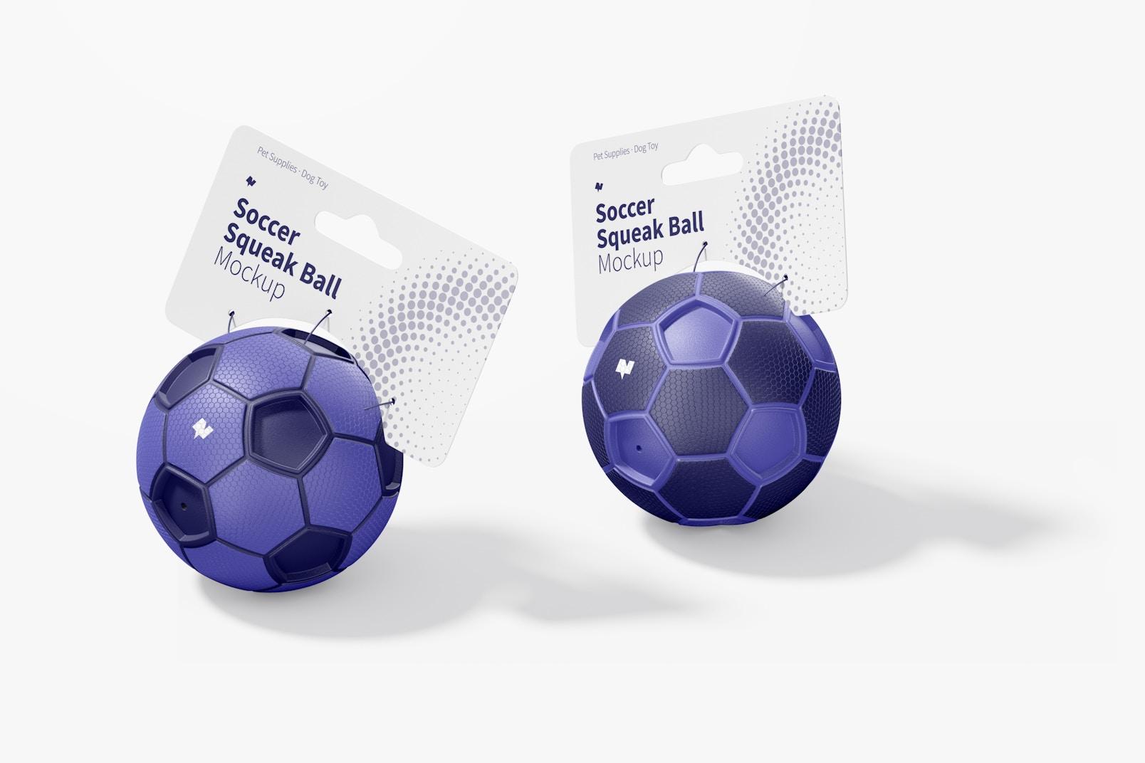 Soccer Squeak Balls Mockup, Left View