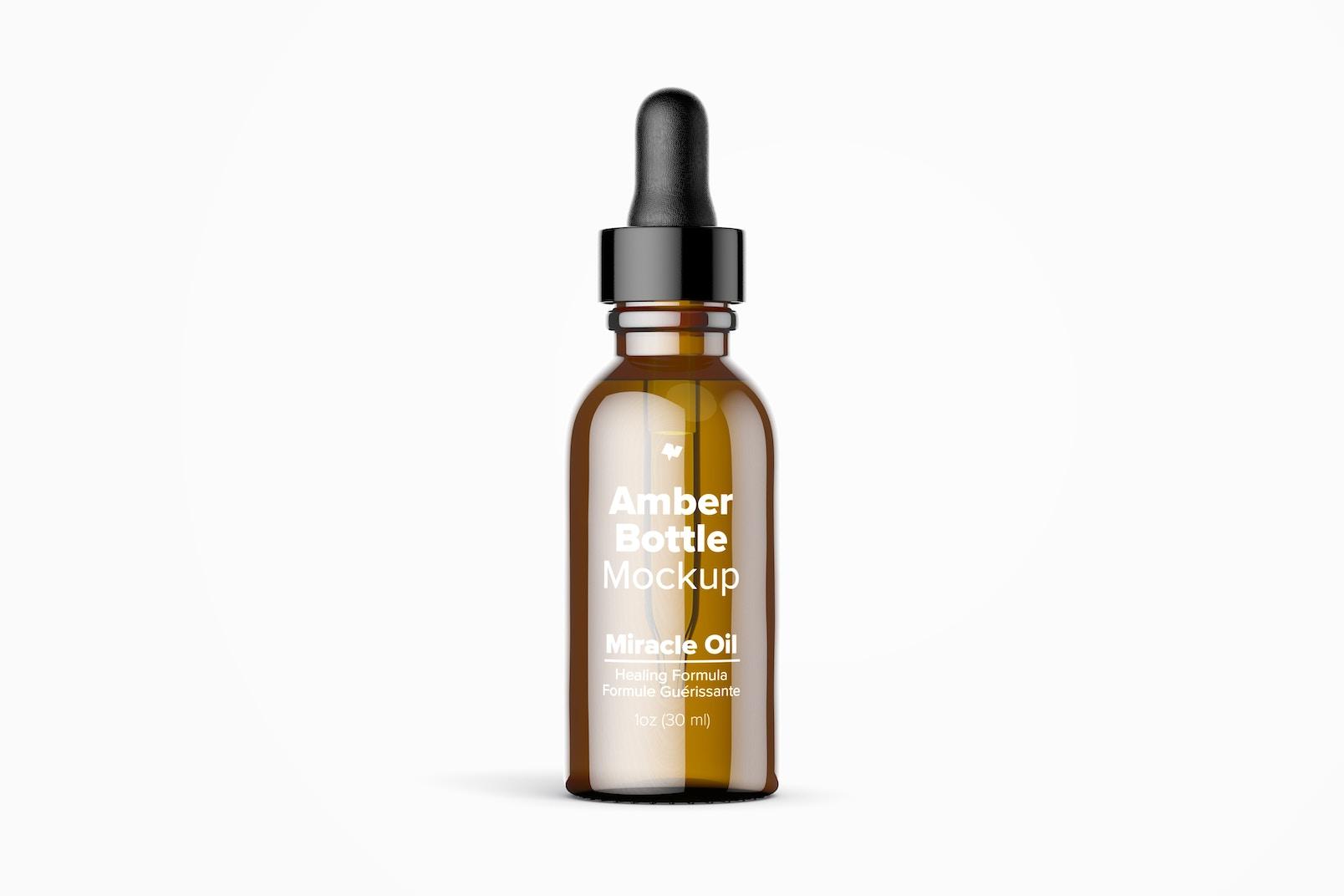 1 oz Amber Bottle Mockup