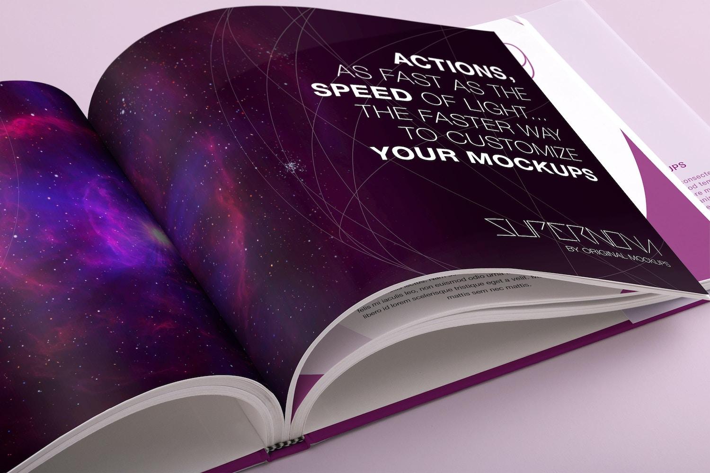 Hardcover Standard Landscape Book PSD Mockup 03 - Custom Background