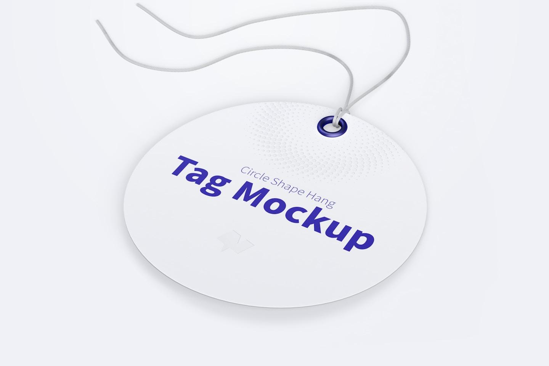 Circle Shape Hang Tag Mockup with String, Perspective View