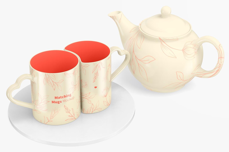 Matching Mugs with Teapot Mockup